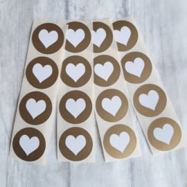 Stickers | hart goud rond | 20 stk
