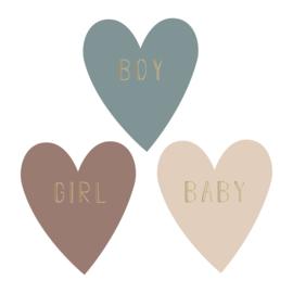Sticker sluitzegel hartje baby boy girl | 9stk