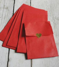 Kraft zakjes | rood | 7,5  x 13cm | 10stk