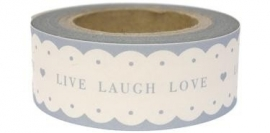 "Paper tape ""LIVE LAUGH LOVE"" wit met grijze tekst / EI 4751"