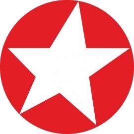 Sticker ster - rood met wit / 20stk