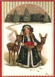 Kerstkaart - Meisje in sneeuw met hertjes   Glitter   nostalgisch