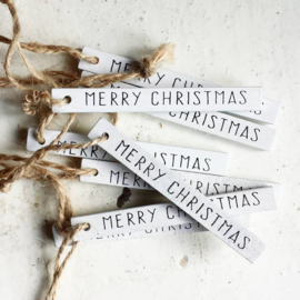 Label / Merry Christmas / wit- hout / 8,5 x 0,9cm / pstk