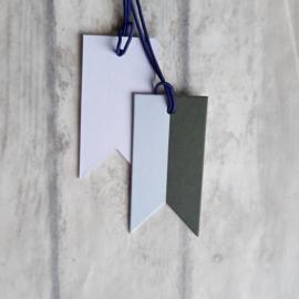 Label - tag bannier vlag frosty blue/ rosemary  | pstk