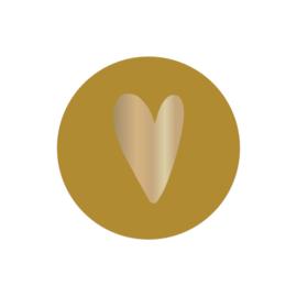 Sticker  sluitzegels | okergeel  foil hartje goud - 10stk