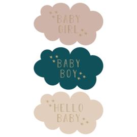 Sticker sluitzegel wolkjes geboorte baby boy girl | 9stk