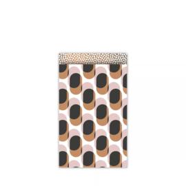 Kado zakje - retro shapes warm | 12x19cm | 5stk