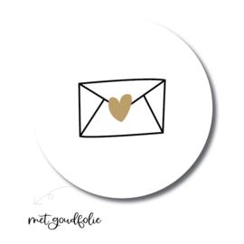 Sticker sluitzegel rond - wit envelop / goudfolie hartje | 45mm | 10stk