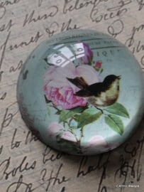 Press papier / mint met rozen en vogel