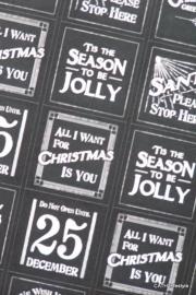 Stickers CHRISTMAS zwartwit  vierkant / EI 1752