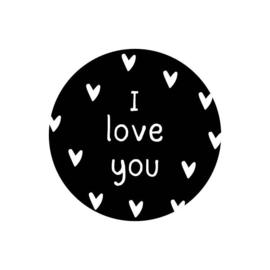 Sticker zwartwit - I Love You | 40mm | 20stk