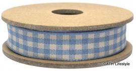 EI 3092 Band 3 meter spoel licht blauw / creme geruit