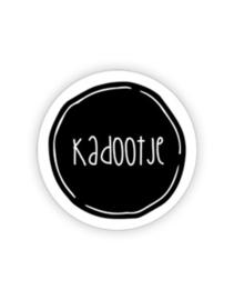 Sticker rond zwartwit rand wit - Kadootje | 35mm | 10stk
