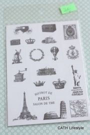 Stickers / Transparant stempel look / set PARIS / YO