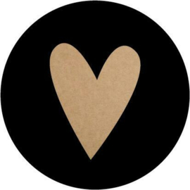 Sticker | rond zwart kraft hartje - 10stk