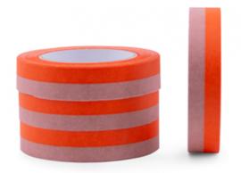 grote rol Papier tape | duo kleuren oranje / roze | 25mm -66m