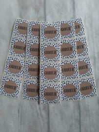 Sticker vierkant kadootje kraft dots  - 20 stk