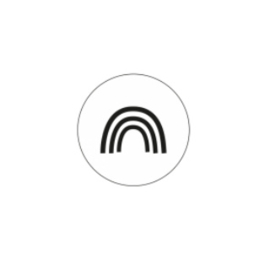 Sticker sluitzegel | rond zwart wit regenboog - 20stk