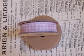 EI 3091 Band 3 meter spoel roze / creme geruit
