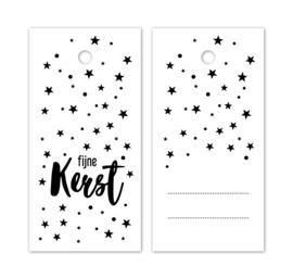 Label wit - Fijne kerst - sterren | 5stk