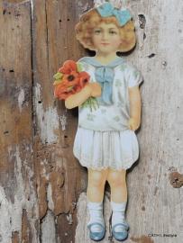 Nostalgishe hanger meisje in het wit