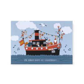 Ansicht kaart Sinterklaas - Pakjesboot / stoomboot van Sinterklaas
