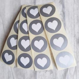 Stickers sluitzegel hart rond zilver | 20stuks