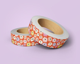 Washi Tape - bloemen print oranje | 10m