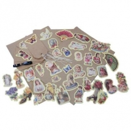 Decoupage / inpak set geel