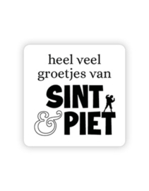 Sticker - vierkant - Sint & Piet    35mm   10stk