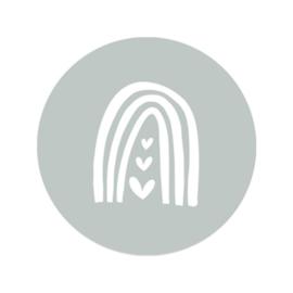 Sticker sage green - regenboog hartjes | 45mm | 10stk