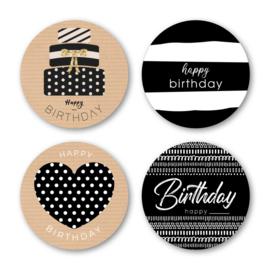 Sticker sluitzegel mix - kraft zwart | Happy Birthday | 16stk