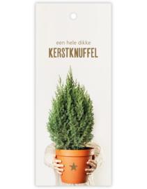 Cadeau kaartje /label - kerst | een hele dikke kerstknuffel - kerstboom