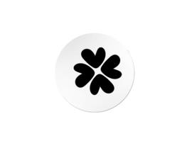 Sticker sluitzegel rond zwartwit  | klavertje 4  | 35mm | 20 stk