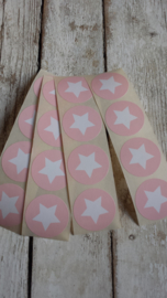 Stickers ster baby roze wit / 20 stuks
