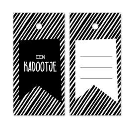 Label zwart wit streep | een kadootjes | 5stk