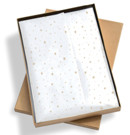 Vloeipapier / wit met gouden sterren  / 50x70 cm / 5 stk