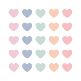 Stickers hartjes pastel assorti | 22mm | 15stk