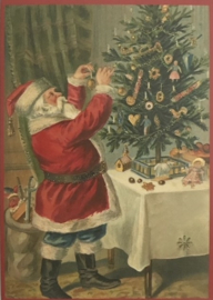 Kerstkaart - Kerstman / kerstboom   Glitter    nostalgisch