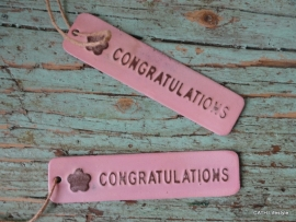 "Label / ""Congratulations""  roze lang"