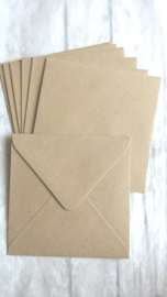 Envelop vierkant kraft / 14cm / pstk