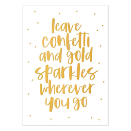 Ansichtkaart goud folie | leave confetti and gold sparkles