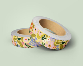 Washi Tape - bloemen print geel paars | 10m