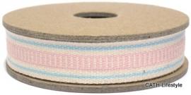 EI 3245 Band 3 meter spoel streep creme blauw ladder roze