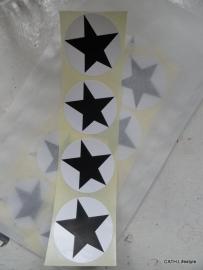 Sticker Ster  - Zwart / 20stk