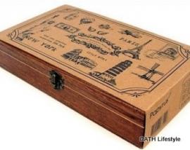 Stempels set  / vintage / 15 stk in mooie houten doos