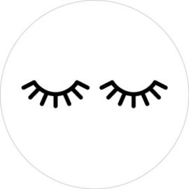 Sticker  sluitzegel   rond wit lashes zwart / 10stk