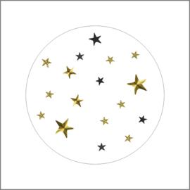 Sticker sluitzegel rond wit met sterren goud | 20stk
