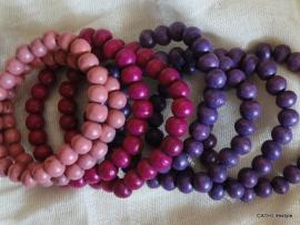 Armband /  Houten kralen /  tinten roze