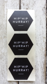 Stickers / Hip Hip Hurray zwart / 10stk